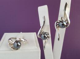 Комплекты - Комплект серебряный с гематитом натуральным, 0
