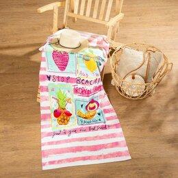 Туалетная бумага и полотенца - Полотенце пляжное Этель 'Коктейли' 70*150 см, 100 п/э микрофибра 250гр/м2, 0