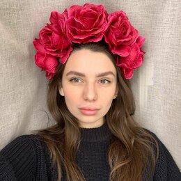 Украшения на тело - Венок на голову. Бордовый. Розы, 0