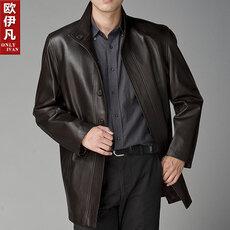 Пальто - Продам новое мужское кожаное пальто 54/180 Швеция весна-осень черный, 0