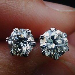 Серьги - Золотые шикарные серьги с крупными бриллиантами, 0