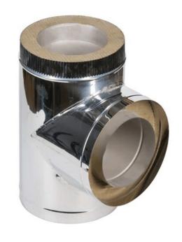 Дымоходы - 90° D150х210 из 0,5мм нерж. с хомутом тройник…, 0