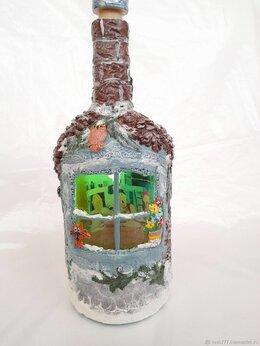 """Декупаж - Бутылка - домик с подсветкой  """"Заходи, если что""""  , 0"""