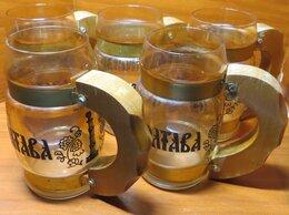 """Кружки, блюдца и пары - Пять кружек для пива """"Полтава"""", стекло, дерево,…, 0"""