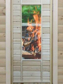 Двери - Банная дверь липа остекленная «Костер», 0
