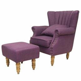 Кресла - Кресло с мягкими подлокотниками с пуфиком…, 0