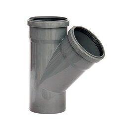 Канализационные трубы и фитинги - Тройник серый 110*110 45 град., 0