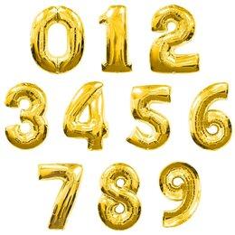 """Воздушные шары - Воздушные шары Цифры """"0-9"""" Золото 41 см, 0"""