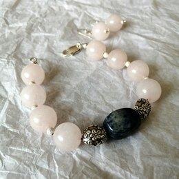 Комплекты - Серьги и браслет в серебре с розовым кварцем, 0