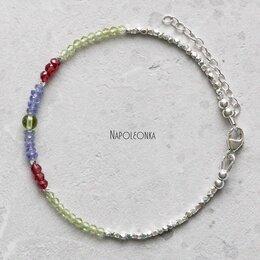 Браслеты - Браслет из танзанита, рубина, хризолита и серебра 925 пробы  (БР00621), 0