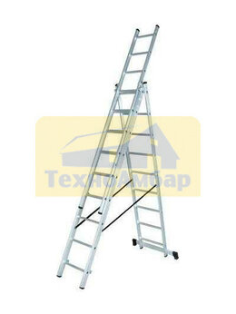 Лестницы и стремянки - Лестница алюминиевая трёхсекционная ЛА 3х8 Вихрь, 0