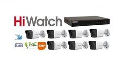 Камеры видеонаблюдения - Видеонаблюдение HiWatch (IP-POE) на 7камер 4Mxp, 0
