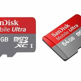 Карты памяти - Флешка MicroSD 64 Гб SanDisk Mobile Ultra новая, 0
