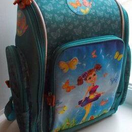 Рюкзаки, ранцы, сумки - Рюкзак школьный бирюзовый «Бабочки». Размер 39*34*20см. Новый, 0