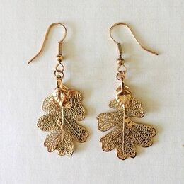 Серьги - Серьги Ester Bijoux листья дуба золото, 0