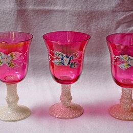 Бокалы и стаканы - Старые красные бокалы с лепкой в виде цветка 3 шт, 0