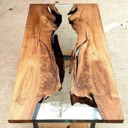 Столы и столики - Стол-река из цельного массива с эпоксидной смолой, 0