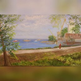 Картины, постеры, гобелены, панно - картина маслом пленэр Таганрог яхт-клуб  набережная nataly_art_tag, 0