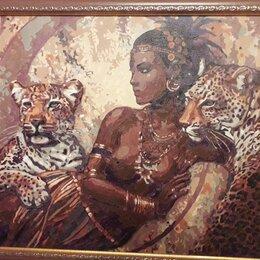 Раскраски и роспись - Восточная красавица с леопардами, 0