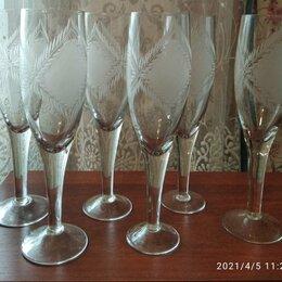 Бокалы и стаканы - Фужеры хрустальные новые 6 штук, 0