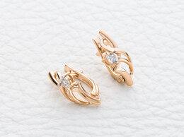Серьги - Серьги с 2 бриллиантами из комбинированного золота, 0