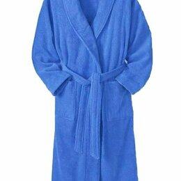 Домашняя одежда - Халат подростковый махровый ЭЛИТ с капюшоном Голубой размер 152/158, 0