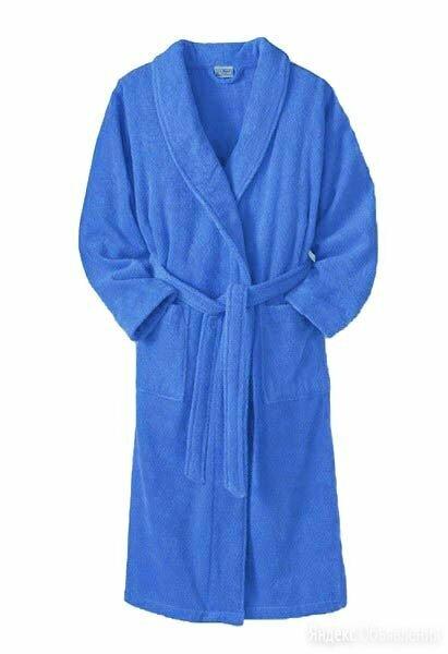Халат подростковый махровый ЭЛИТ с капюшоном Голубой размер 152/158 по цене 1901₽ - Домашняя одежда, фото 0