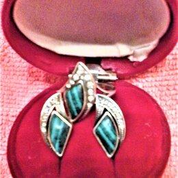 Комплекты - Серьги и кольцо, серебро с натуральным малахитом и фианитами, 0
