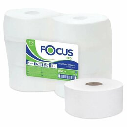 Туалетная бумага и полотенца - Бумага туалетная БОЛЬШОЙ РУЛОН 525 м, FOCUS (Система Т1) 1-слойная, цвет белы..., 0
