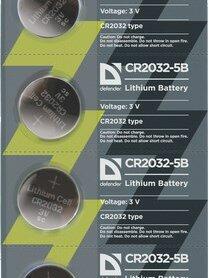 Батарейки - Батарейка литиевая Defender CR2032-5B в блистере 5, 0