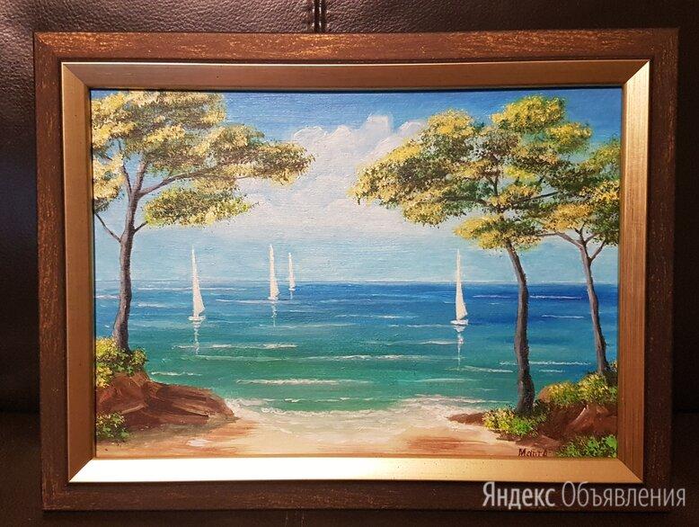 Картина Средиземное море, акрил,  размер 35 х 26 см. по цене 1200₽ - Картины, постеры, гобелены, панно, фото 0