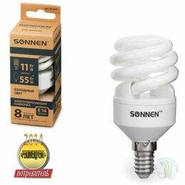 Лампочки - Лампа люминесц. энергосбер. SONNEN ECO Т2, 11(55)Вт, цоколь E14, 8000ч, хол. све, 0