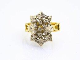 Кольца и перстни - Золотое кольцо с бриллиантами, 750 проба, 0