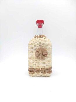 Бутылки - Бутылка стеклянная Штоф в оплётке, 1.2 литра, 0