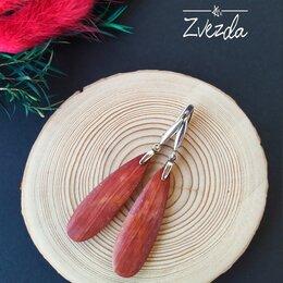 Серьги - Серебряные серьги с красной яшмой., 0