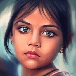 """Дизайн, изготовление и реставрация товаров - Портрет по фото - """"Индийская девочка с голубыми глазами"""", 0"""