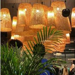 Настенно-потолочные светильники - Светильник ротанг плетеный абажур, 0