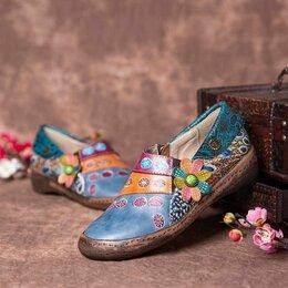 Туфли - Мягкие туфли на плоской подошве в стиле бохо, 0