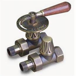 Аксессуары для радиаторов - Комплект декоративные вентили EXEMET 1/2″ прямые с деревянной ручкой, Бронза, 0