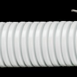 Кабеленесущие системы - Труба гофрированная ПВХ d=16мм серая с зондом,легкого типа IEK, 0