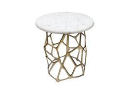 Столы и столики - Приставной столик белый с золотым фигурным…, 0