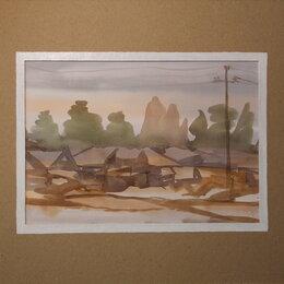 Картины, постеры, гобелены, панно - Весенний этюд. Село. Акварель,деревня,пейзаж, дом,весна,картина, 0