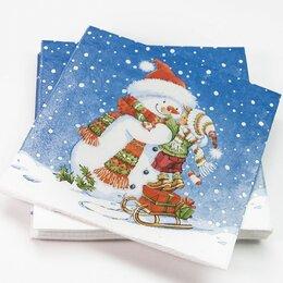 Скатерти и салфетки - Салфетки Снеговик и мальчик, 33*33см, 20шт, 0