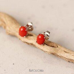 Серьги - Серьги-пусеты с натуральным красным кораллом.…, 0