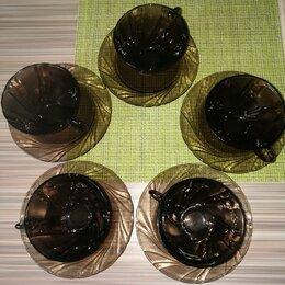 Кружки, блюдца и пары - Чашки с блюдцами Vereco, Франция, 5 пар, б/у, 0