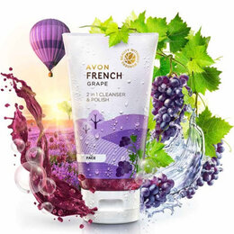 Скрабы и пилинги - 2 в 1   Средство для умывания и скраб для лица Французский виноград 100мл Avon, 0