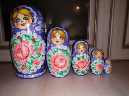Подарочные наборы - Матрешки сиреневые с розовым цветком.Набор из 5 шт, 0