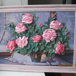 Картины, постеры, гобелены, панно - Картина вышитая лентами  *Розы на зимнем окне*., 0