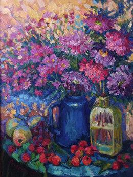 """Картины, постеры, гобелены, панно - Картина холст/масло """" Осенние цветы """", 0"""