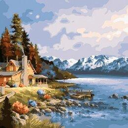 Раскраски и роспись - Картина по номерам на холсте-домик у реки, 0
